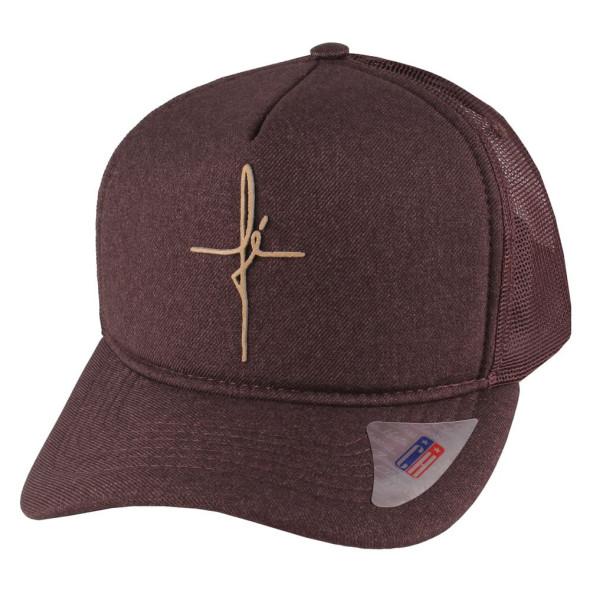 Boné Aba Curva Snapback Truker Classic Hats Fé Marrom