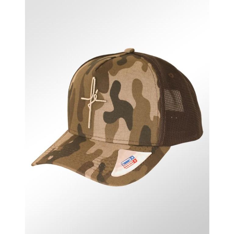 e3a683d92a1d3 Boné Aba Curva Snapback Classic Hats Camuflado Marrom Fé