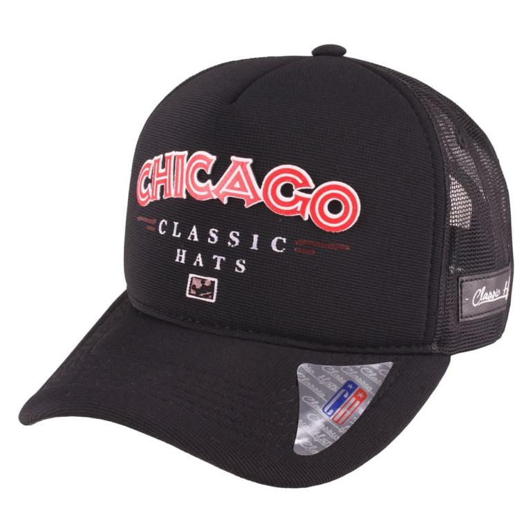 Boné Aba Curva Snapback Truker Classic Hats Chigaco Preto