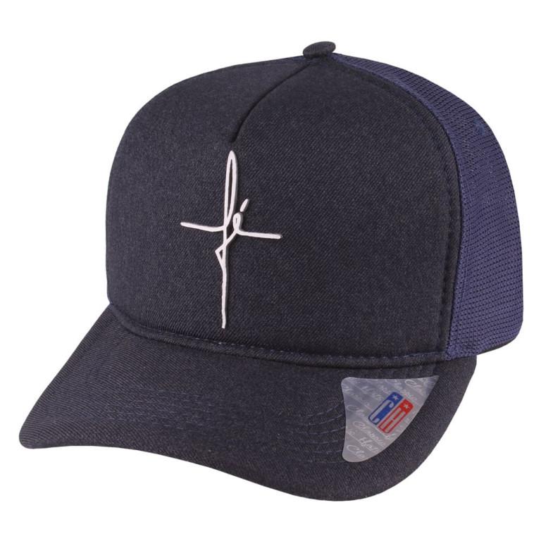 Boné Aba Curva Snapback Truker Classic Hats Fé Marinho