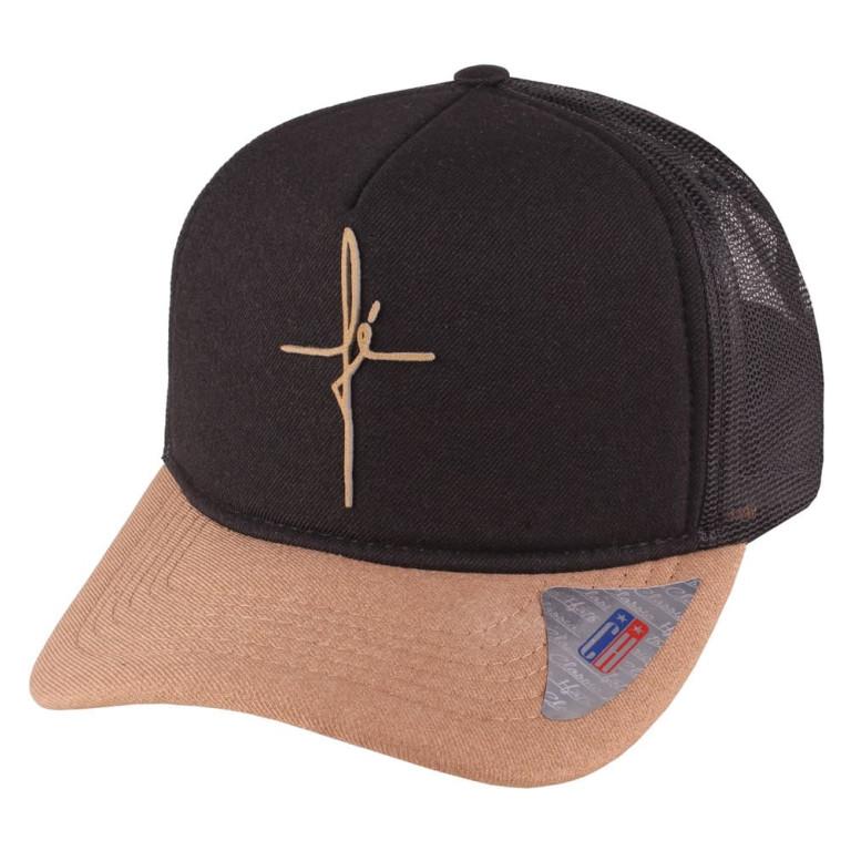 Boné Aba Curva Snapback Truker Classic Hats Fé Preto