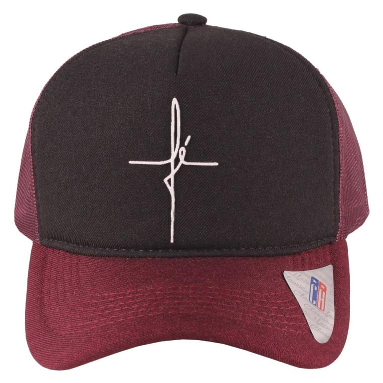Boné Aba Curva Snapback Truker Classic Hats Fé Vinho