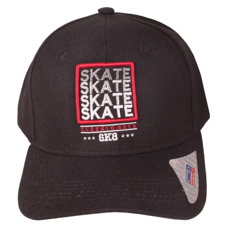 Boné Aba Curva Strapback Classic Hats Skate SK8 Preto