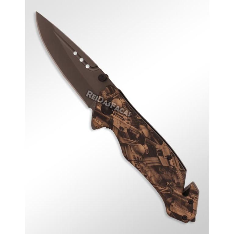 Canivete com Quebra Vidro e Corta Cinto B119G