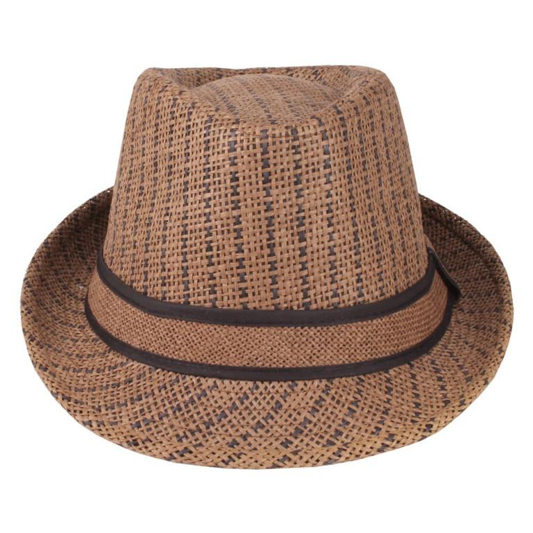 Chapéu Panamá Palha Marrom Listrado