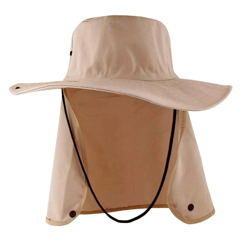 Chapéu Pescador com Proteção de Pescoço Bege
