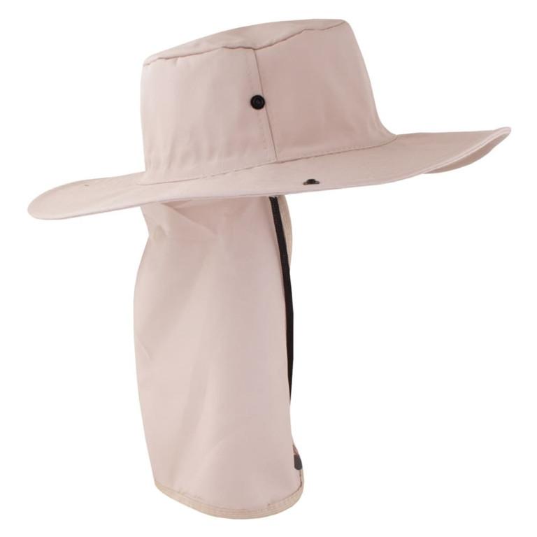 Chapéu Pescador com Proteção de Pescoço Bege Claro