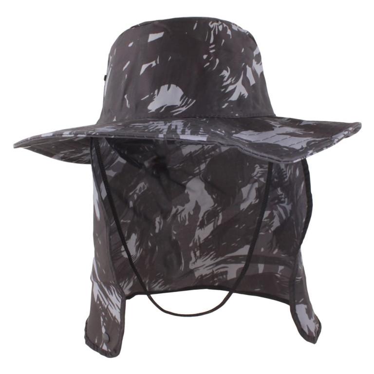 Chapéu Pescador com Proteção de Pescoço Camuflado Preto