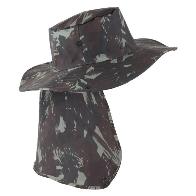 Chapéu Pescador com Proteção de Pescoço Camuflado Verde