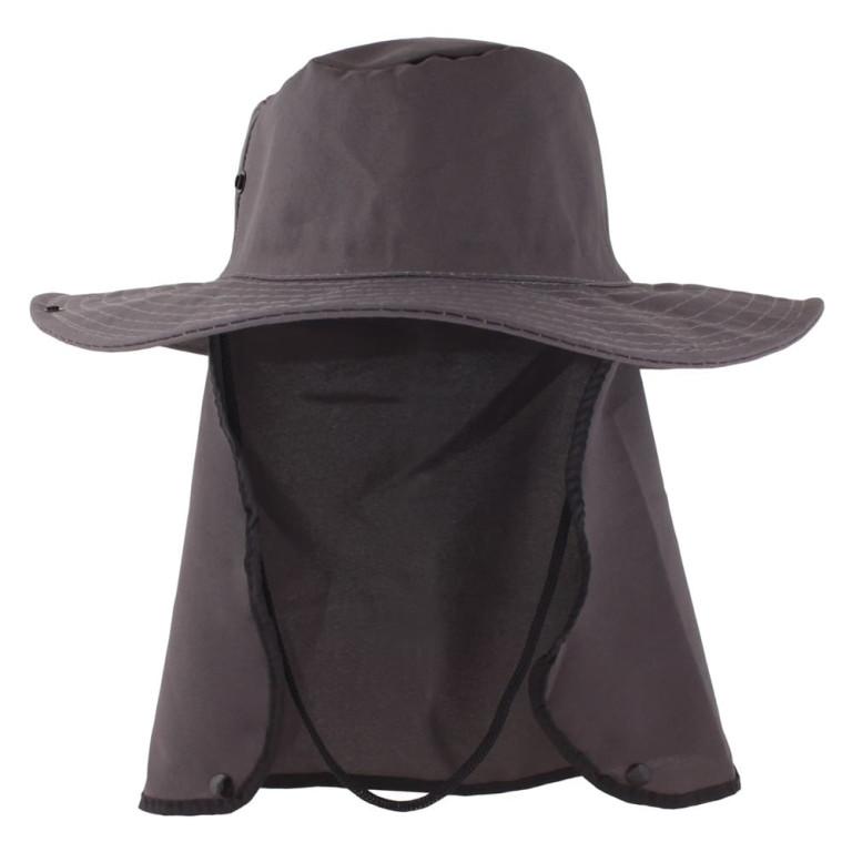 Chapéu Pescador com Proteção de Pescoço Cinza