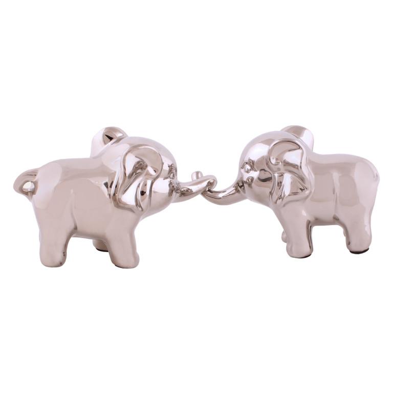 Jogo com 2 Elefantes em Cerâmica Prata