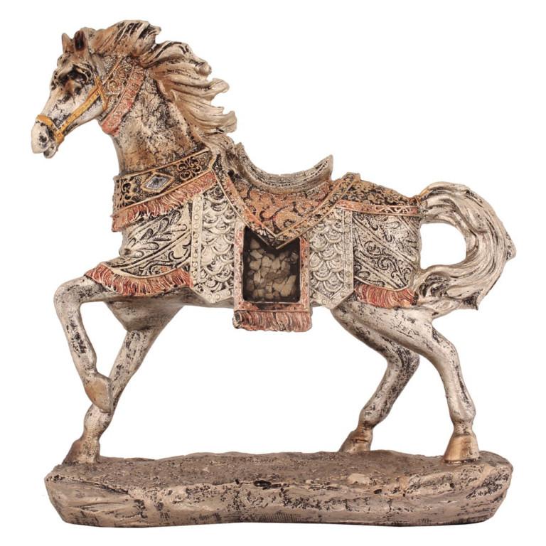 Estatueta Cavalo Prateado em Resina 18 cm